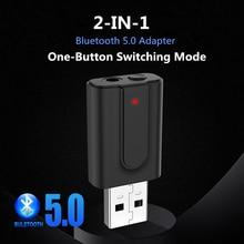 VIKEFON transmisor y receptor de Audio 2 en 1, Bluetooth 5,0, RCA, conector AUX de 3,5mm, estéreo Hifi, adaptador inalámbrico USB para TV, PC, Kit de coche, MP3