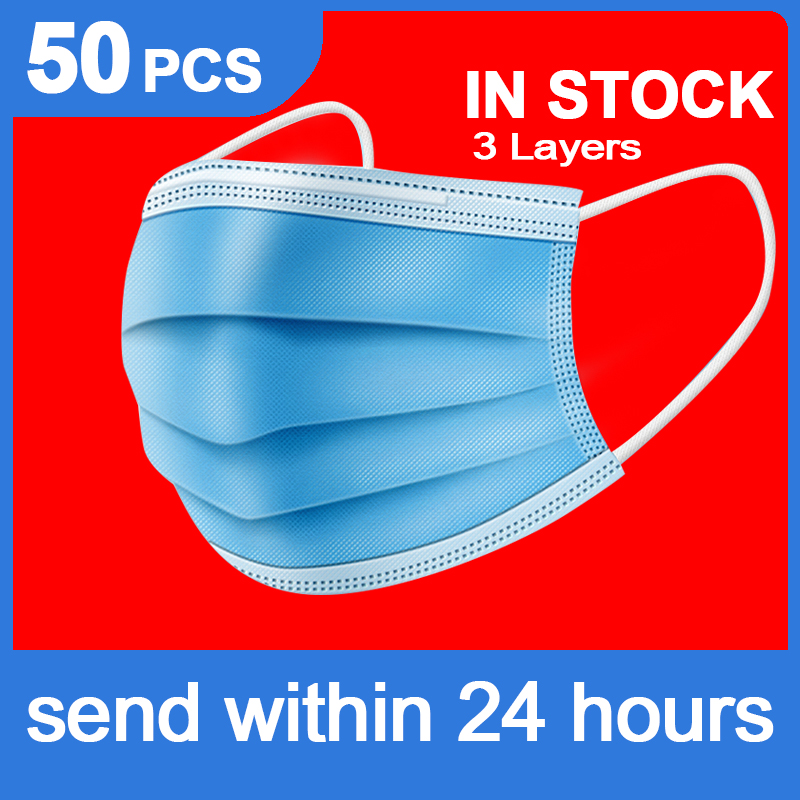 Mask Disposable Nonwove 3 Layer Ply Filter Mask Mouth Face Mask Filter Safe Breathable 50pcs 100pcs