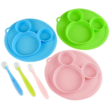 Baby Feeding Plate Spoon Tableware Set Cartoon Food FDA Silicone Safety Bowl Children Kids Eating Dishes Training BPA Free Gift