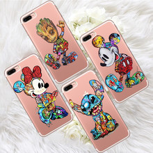 Groot Stitch para iPhone X XR XS Max 5 5S SE 6 6S 7 7 Plus teléfono caso Funda de teléfono Funda Coque estuche marvel deadpool gato de dibujos animados(China)