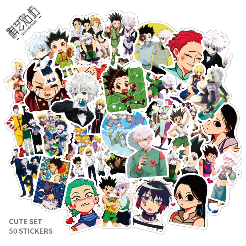 50pcs Hunter X Hunter Adventure Pvc Waterproof Sticker For Luggage Wall Car Laptop Bicycle Motorcycle Notebook Toys Stickers