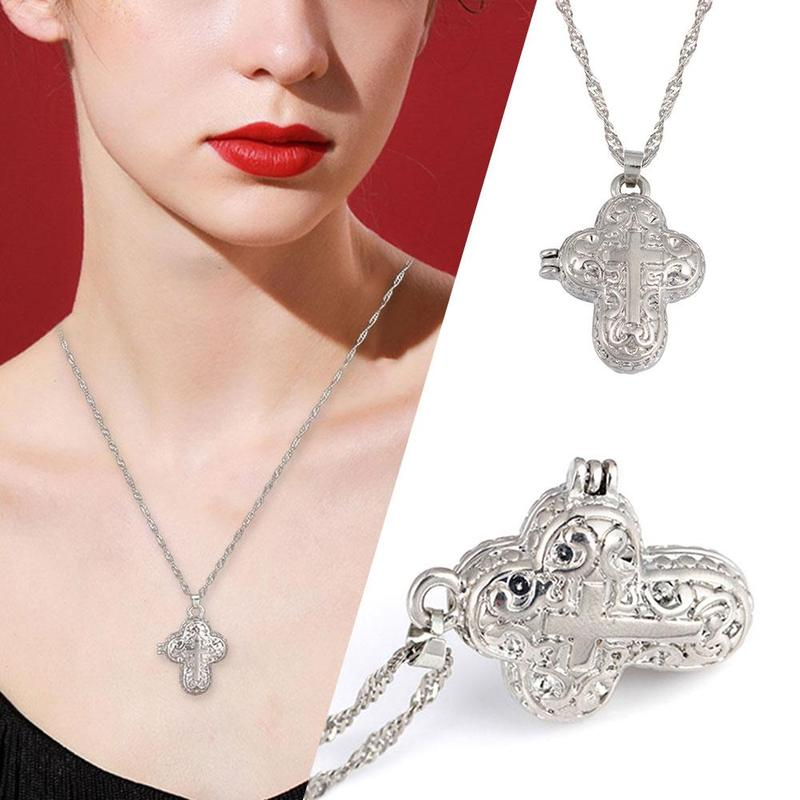 Memorial Ashbox Necklace Locket Silver Magnet Cross Pendant Chain Necklace Chocker Women Men Jewelry Gifts New Arrival