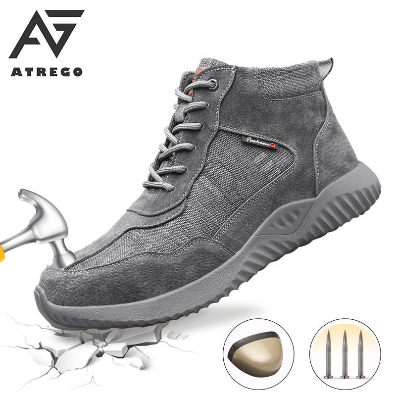 AtreGo Men Safety Canva Ankle Boots Winter Safety Shoes Steel Toe Cap Anti-Smashing Breathable Hiking Sneakers Work Shoes