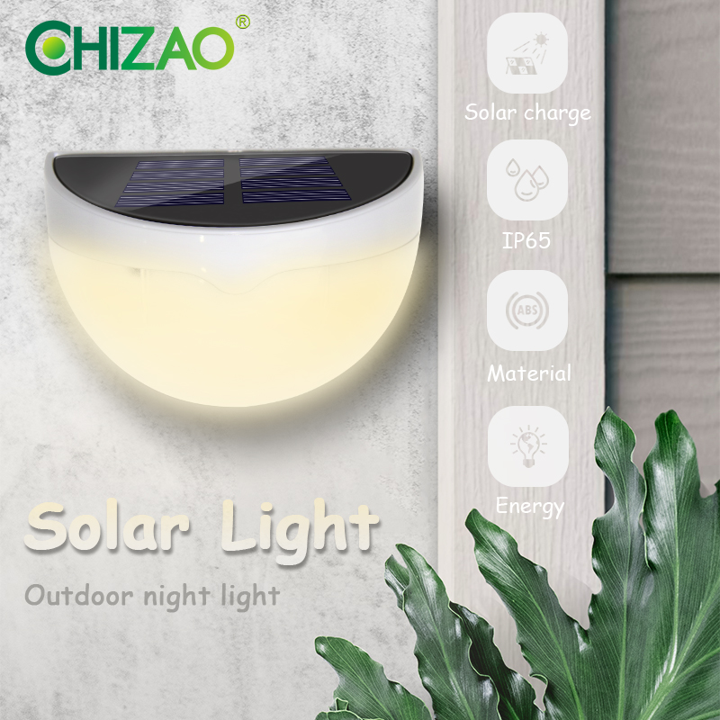 CHIZAO Outdoor Wall Light Mini Wireless Solar Lamp Night Safety Decorative Lighting For Garden Fence Garage Ladder Front Door