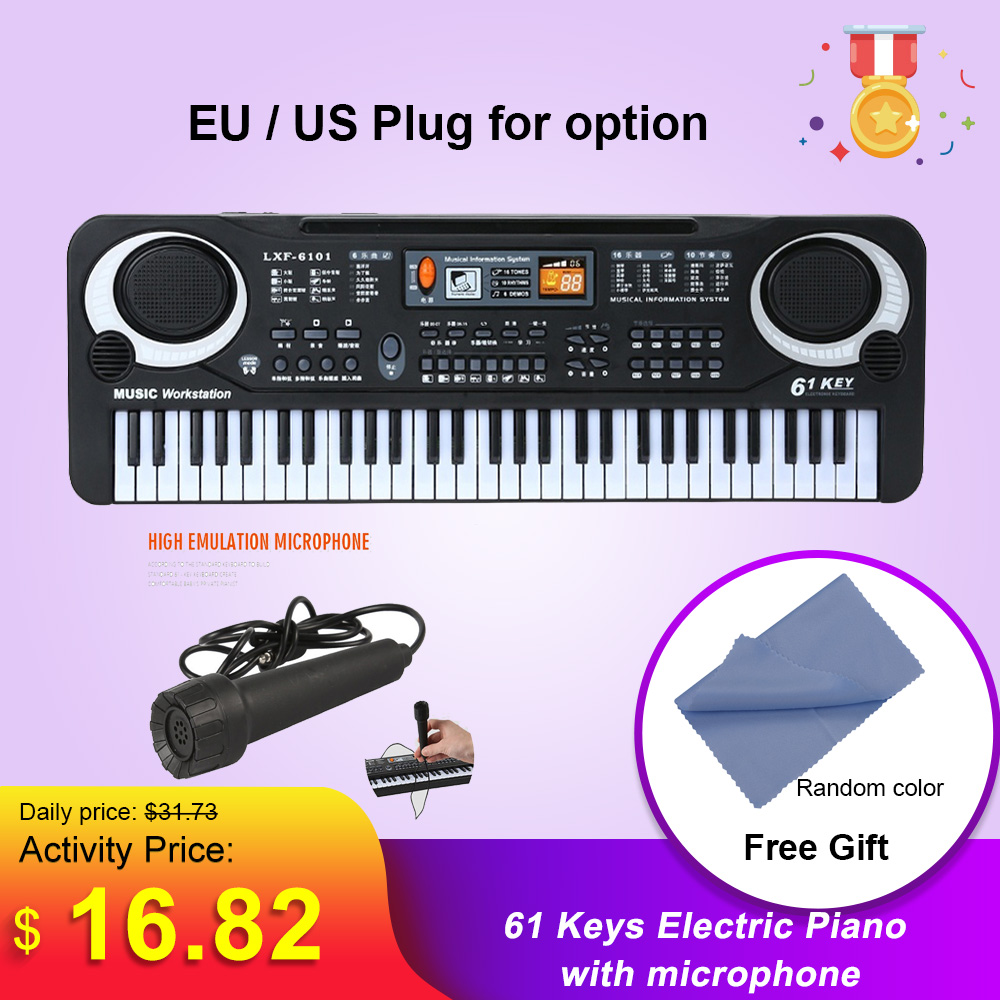 61 Keys Electric <font><b>Piano</b></font> <font><b>Digital</b></font> Electronic Keyboard Kids Gift Keybboard Instrument <font><b>Piano</b></font> With microphone Educational Tool for kid image