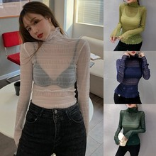 Women Spring Sexy Bottoming Tee Shirt See Through Ladies Turtleneck Long Sleeve Elegant Ladies Solid Colot Tshirt Femme