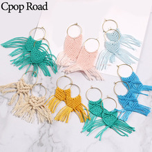 Cpop Fashion Handmade Weave Macrame Earrings Geometric Ethnic Boho Feather Fringe Tassel Bridesmaid Jewelry Accessories