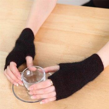 Sparsil Women Winter Mink Cashmere Knit Short Glove Half-Finger Soft Wrist Warmer Female Elastic Wool Mittens With One Hole - discount item  10% OFF Gloves & Mittens