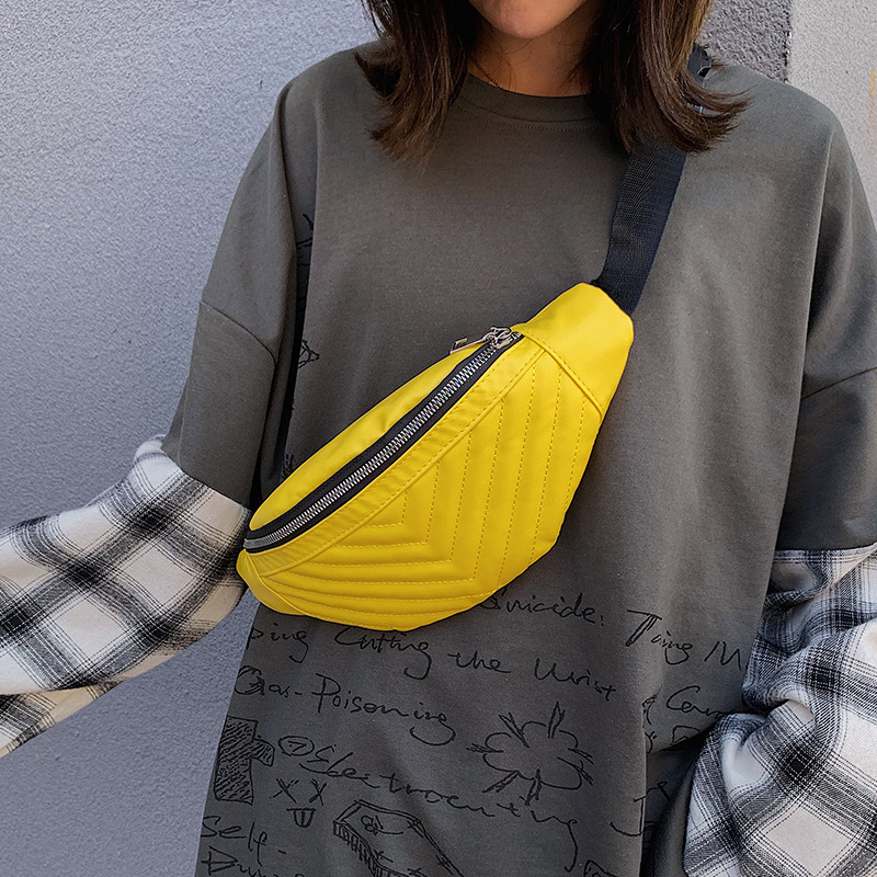 Waist Chest Bag Mobile Pouch PU Leather Waist Pack Yellow Fanny Pack Female Fashion Waterproof Ladies Belly Bags Waist Packs