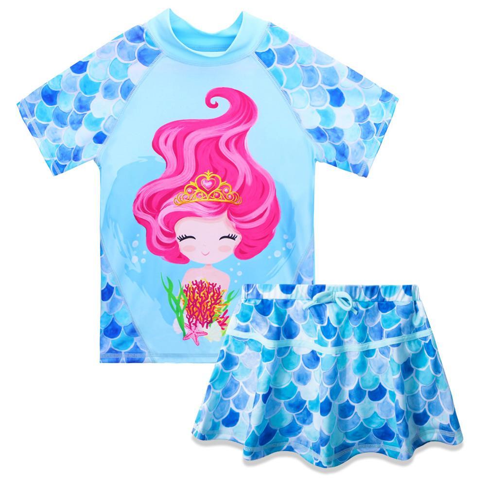 Maiô com Saia Azul dos Desenhos Traje de Natação Upf50 + Manga Baohulu Meninas Banho Curta Crianças Duas Peças Animados Peixe Escala