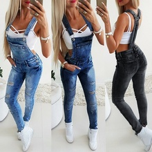 Women Jeans Pants Jumpsuit Overall Pinafore Dungaree High-Quality Full-Length Solid Bib