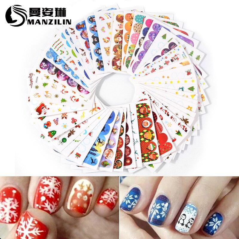 Hot Selling Nail Sticker Christmas Watermarking Adhesive Paper Snowflake Nail Sticker Santa Claus 45-Mixed