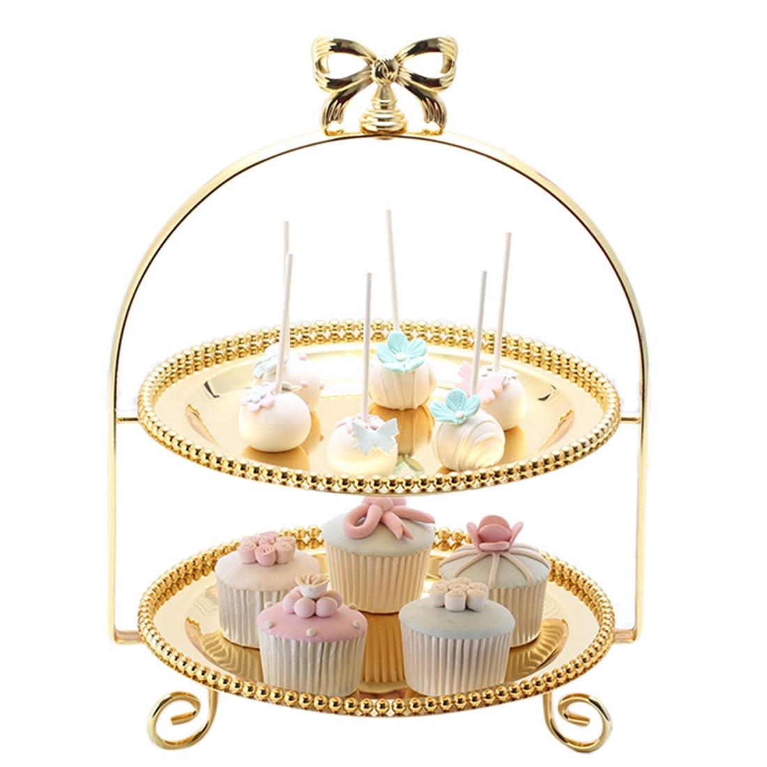 Plateau rond à Dessert aux fruits | À 2 niveaux avec nœud papillon, plateau à gâteaux aux fruits avec plateau-doré S