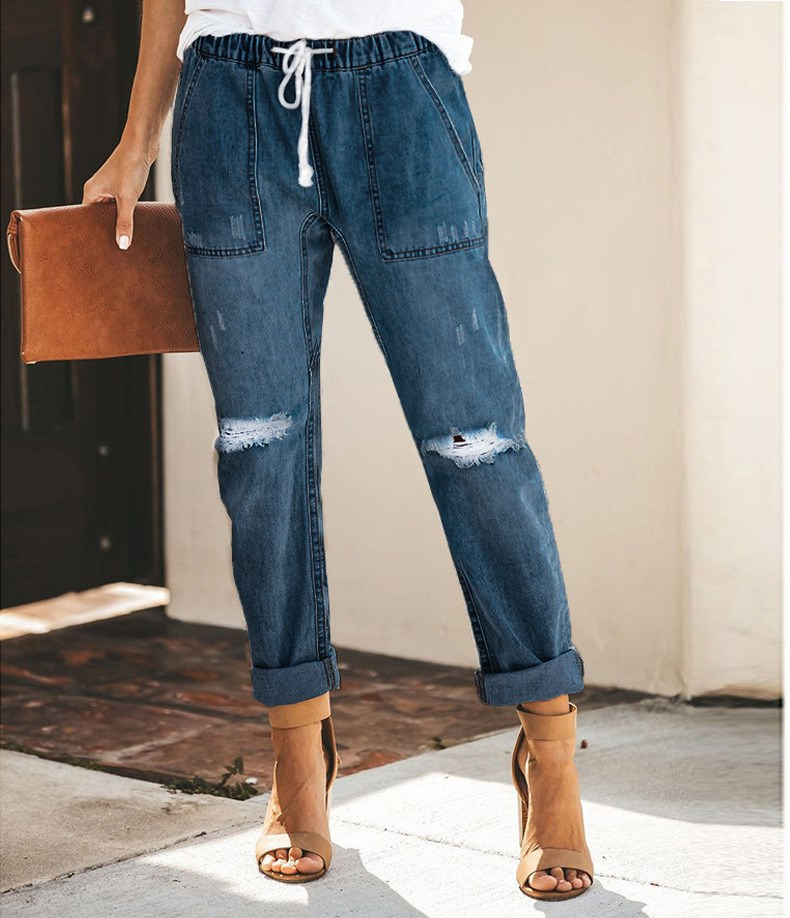 Fashion Women Holes Jeans Mid Knee Ripped Loose Trouser Elastic Waist Pockets Denim Pants