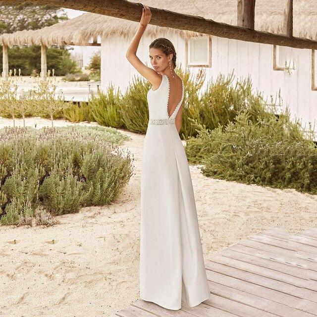New Ivory A-Line Pant Suit Wedding Dresses Vestido De Novia Jumpsuit V Neck Satin Bridal Gowns Sleeveless Beading Belt Open Back 3