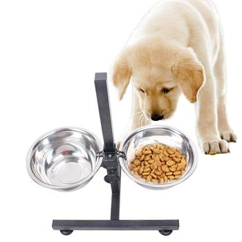 Dog Bowl Stainless Steel Pet Dog Cat Double Bowls Iron Stand Food Water Dishes Feeder Pet Supplies Comida Mascotas