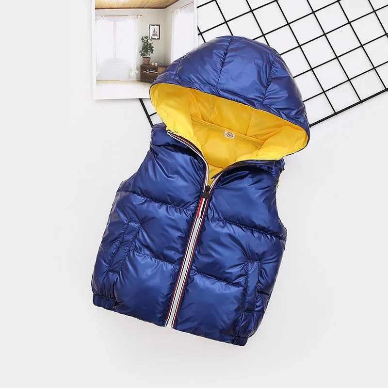 Новинка, детский жилет, Детская верхняя одежда, зимние пальто, детская одежда, теплый хлопковый жилет с капюшоном для маленьких девочек и мальчиков 3-10 лет