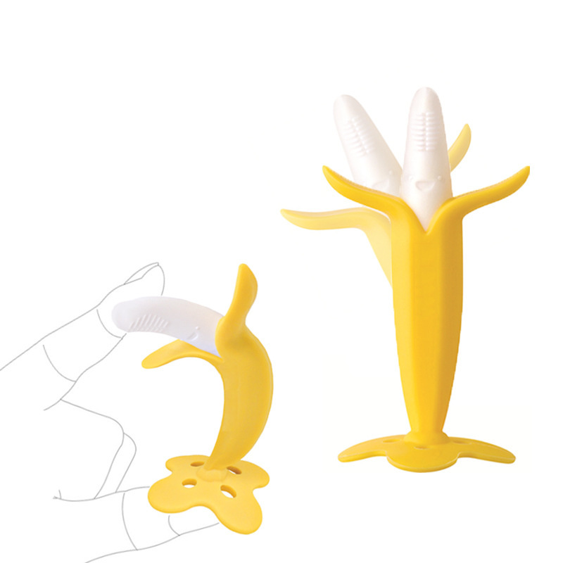 Gift for Infant Baby Chewing Baby Silicone Training Toothbrush BPA Free Banana Shape Safe Teether Chew Toys Teething Ring image