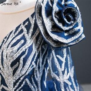 Image 5 - דובאי כחול ארוך שרוול פרחי ערב שמלות 2020 נצנצים ואגלי יוקרה סקסי פורמליות שמלת Serene היל HM67079