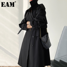 Long-Sleeve Women Windbreaker Spring Black Autumn Fashion New Fit Lapel EAM Loose Loose