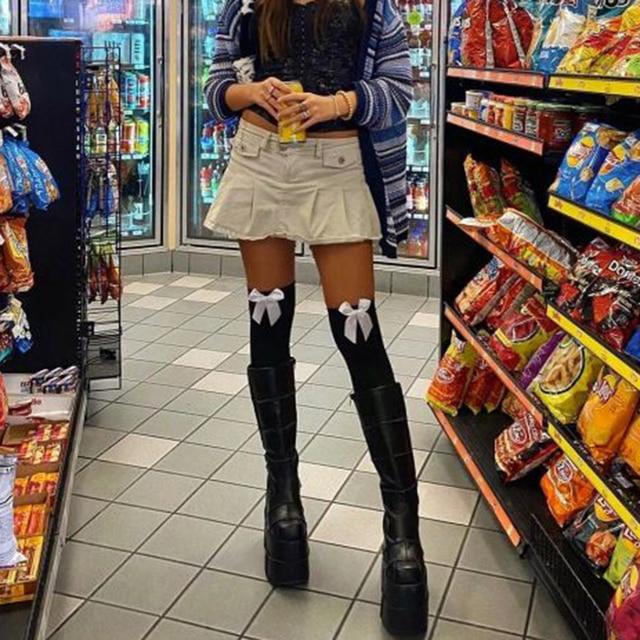 Rockmore Sexy Velvet Stockings Thigh High Over Knee Socks Nylon Long Socks Hosiery Anime Lolita Socks Bow Cute Stockings Women