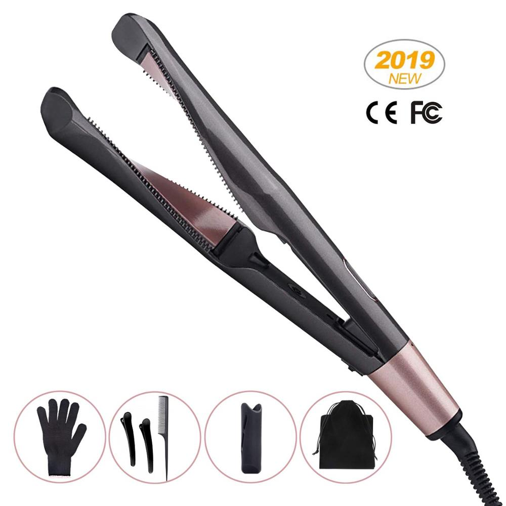 2 In 1 Hair Straightener And Curler Twisted Plate Ceramic Curling Iron LED For All Hair Style Barber Curling Iron