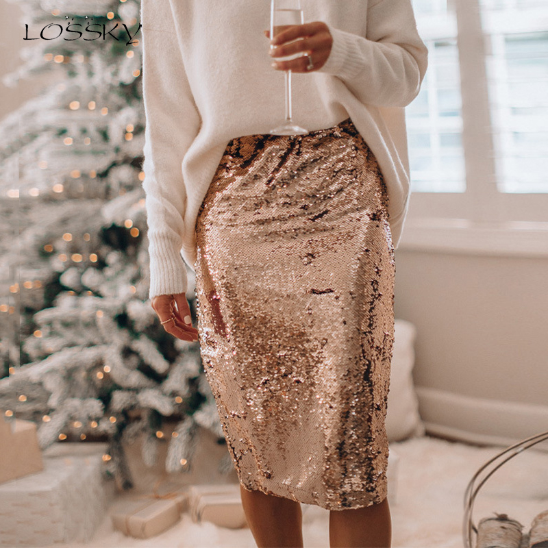 Lossky Skirts Elegant Ladies Gold Sequin Club Party Knee Length Skirt Fall Spring Women High Waist Elastic Bodycon Shiny Clothes