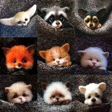 Poupée Animal de compagnie de poche pour femmes, bricolage Non fini, fait à la main, jouet en laine, Kit de feutrage à l'aiguille, décor de tête de chien, chat, renard, lapin