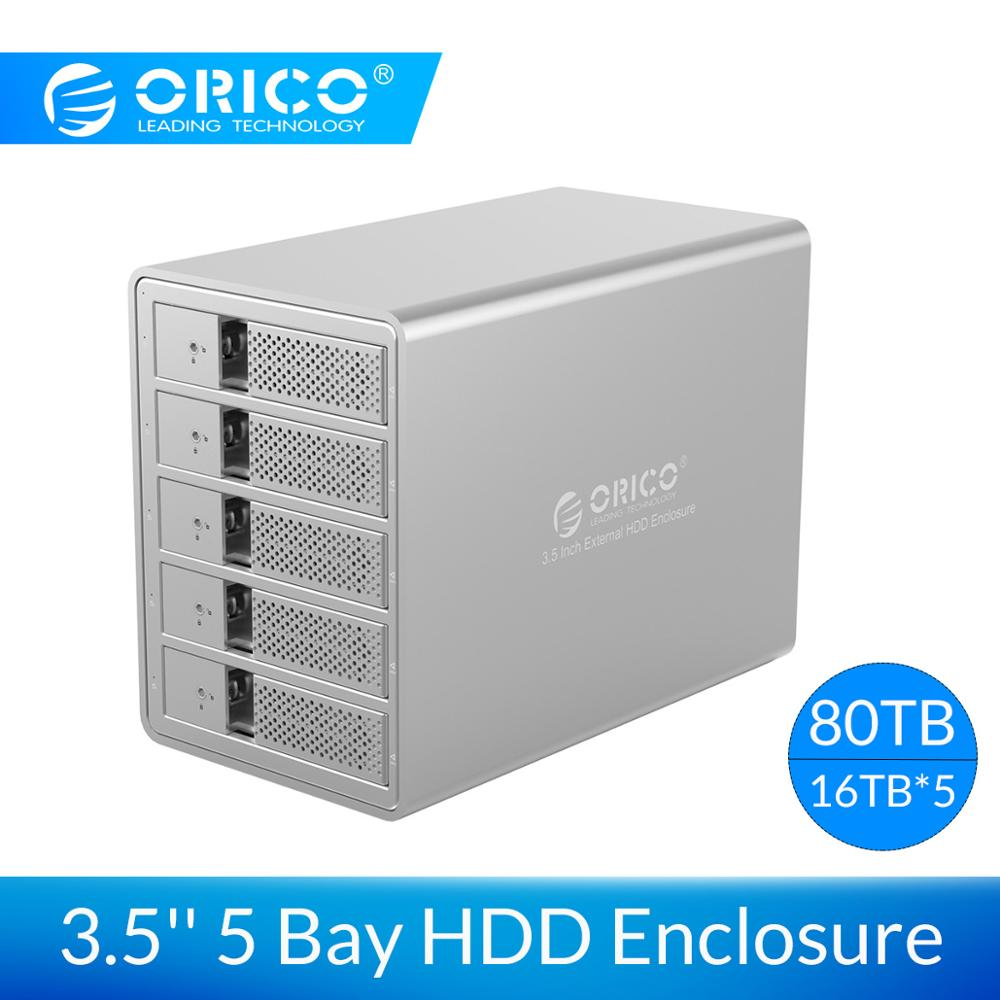 ORICO Aluminum USB3.0 5 bay 3.5 inch SATA Hard Drive Enclosure 80TB Max With Internal Power Adapter HDD Case Tool Free