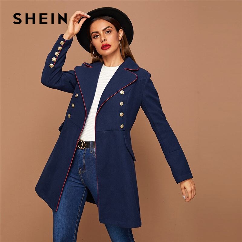 SHEIN Black Lapel Collar Gold Button Detail Contrast Piping Coat Winter Long Sleeve Elegant Outwear Long Pea Coats