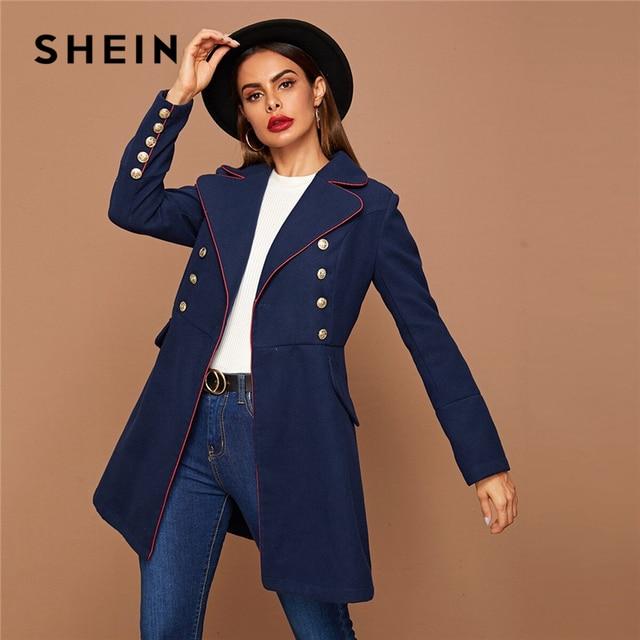SHEIN Black Lapel Collar Gold Button Detail Contrast Piping Coat Winter Long Sleeve Elegant Outwear Long Pea Coats
