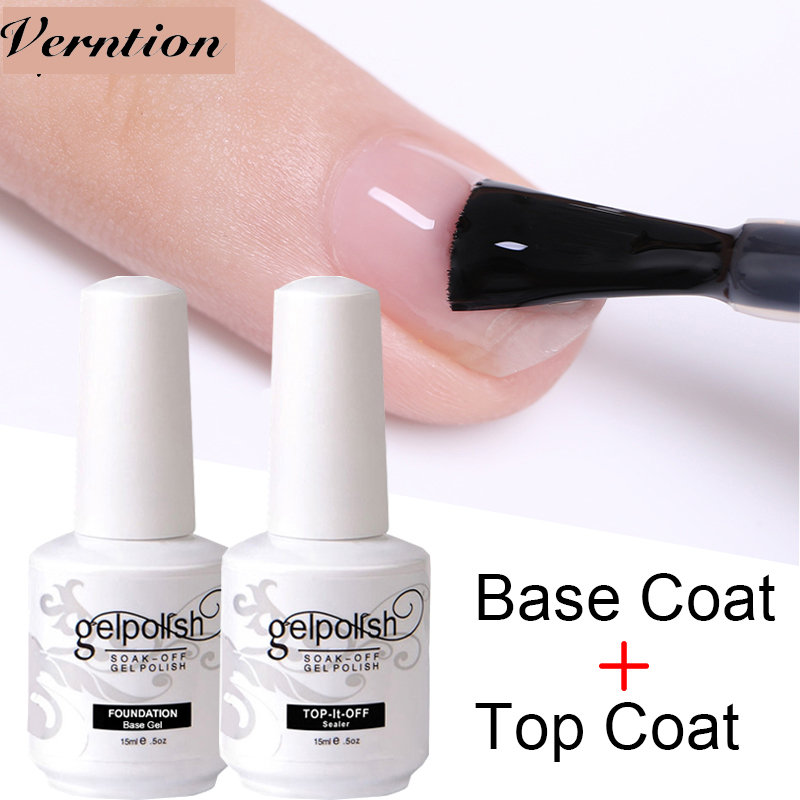 Verntion Bottom Gel Primer Base Top Coat Nail Polish Without Wipe UV Gel Lacquer Gel Non-cleaning Varnish Semi-permanent Nails