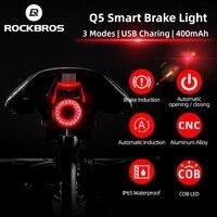 ROCKBROS bisiklet ışık akıllı sensör arka işık USB şarj edilebilir MTB yol bisiklet ışığı arka lambası CNC alüminyum bisiklet el feneri