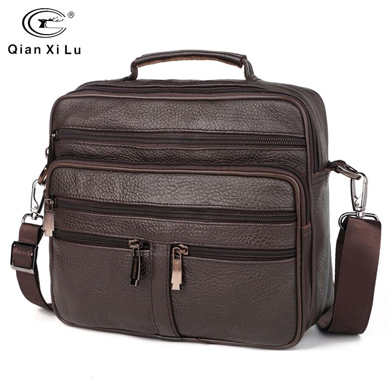 FONMOR Genuine Leather Men Briefcases Fashion Business Tote Bags  Multi-layer Shoulder Crossbody Bag Men's Handbags Travel Bag
