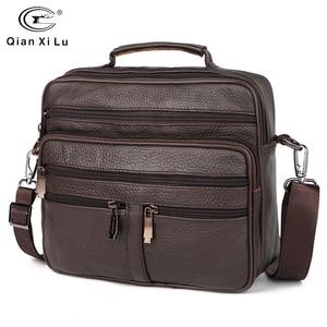 Image 1 - FONMOR Genuine Leather Men Briefcases Fashion Business Tote Bags  Multi layer Shoulder Crossbody Bag Mens Handbags Travel Bag
