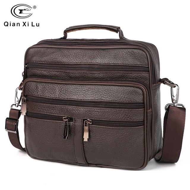 FONMOR Genuine Leather Men Briefcases Fashion Business Tote Bags  Multi layer Shoulder Crossbody Bag Mens Handbags Travel Bag