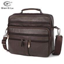 FONMOR حقائب جلد أصلي للرجال موضة الأعمال حمل الحقائب متعددة الطبقات الكتف حقيبة كروسبودي الرجال حقائب السفر حقيبة