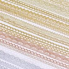 Correas de tela de encaje blanco y oro rosa para decoración, Material de embalaje, artesanía de costura de Rollo de cinta, 5 yardas, 10 yardas, venta al por mayor