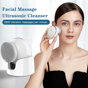 USB Electric face Facial Cleansing Brush foreoing Silicone Sonic Cleaner Deep Pore Cleaning Waterproof Skin Massage недорого