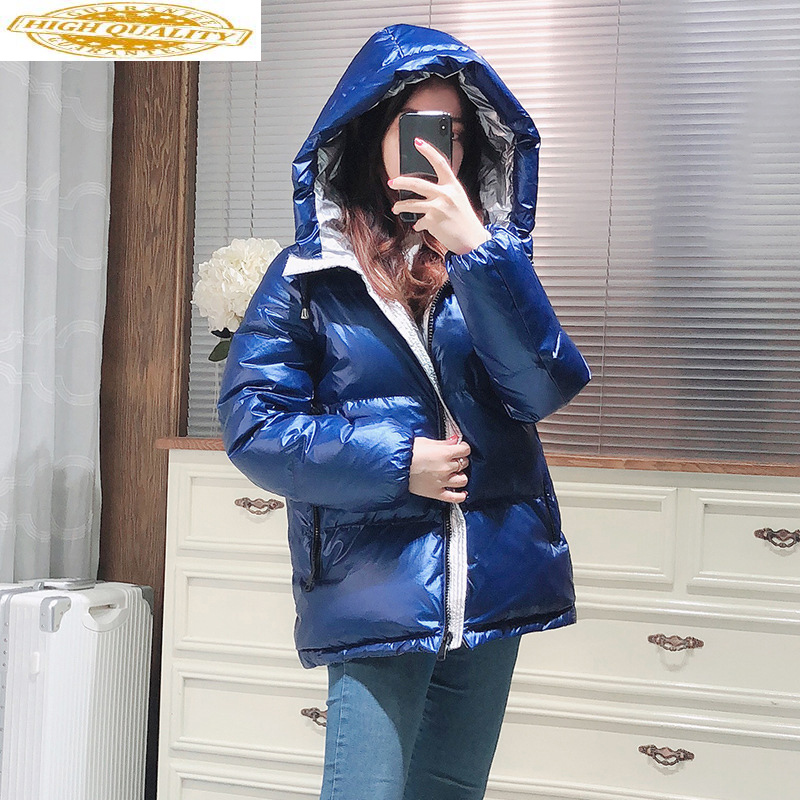Winter White Goose Down Jacket Women Hooded Down Coat Warm Puffer Jacket Korean Parka Manteau Femme Hiver 2020 KJ3870