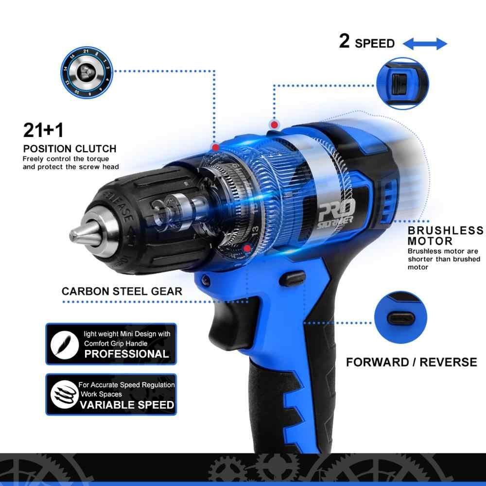 21V Brushless Bor Listrik 40NM Cordless Screwdriver 2000MAh Mini Electric Power Obeng Bor 5Pcs Bit PROSTORMER