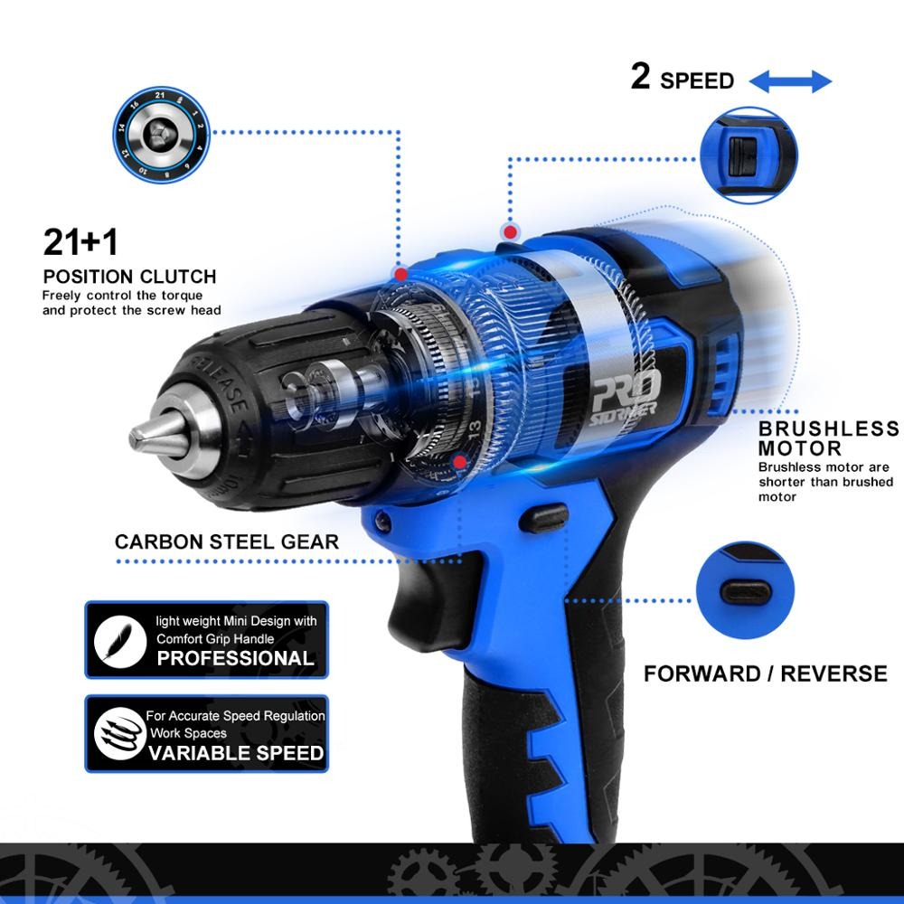 Tools : 21V Cordless Drill 40NM Brushless Mini Electric Driver Screwdriver 2 0Ah Battery Household Power Tools 5pcs Bits by PROSTORMER