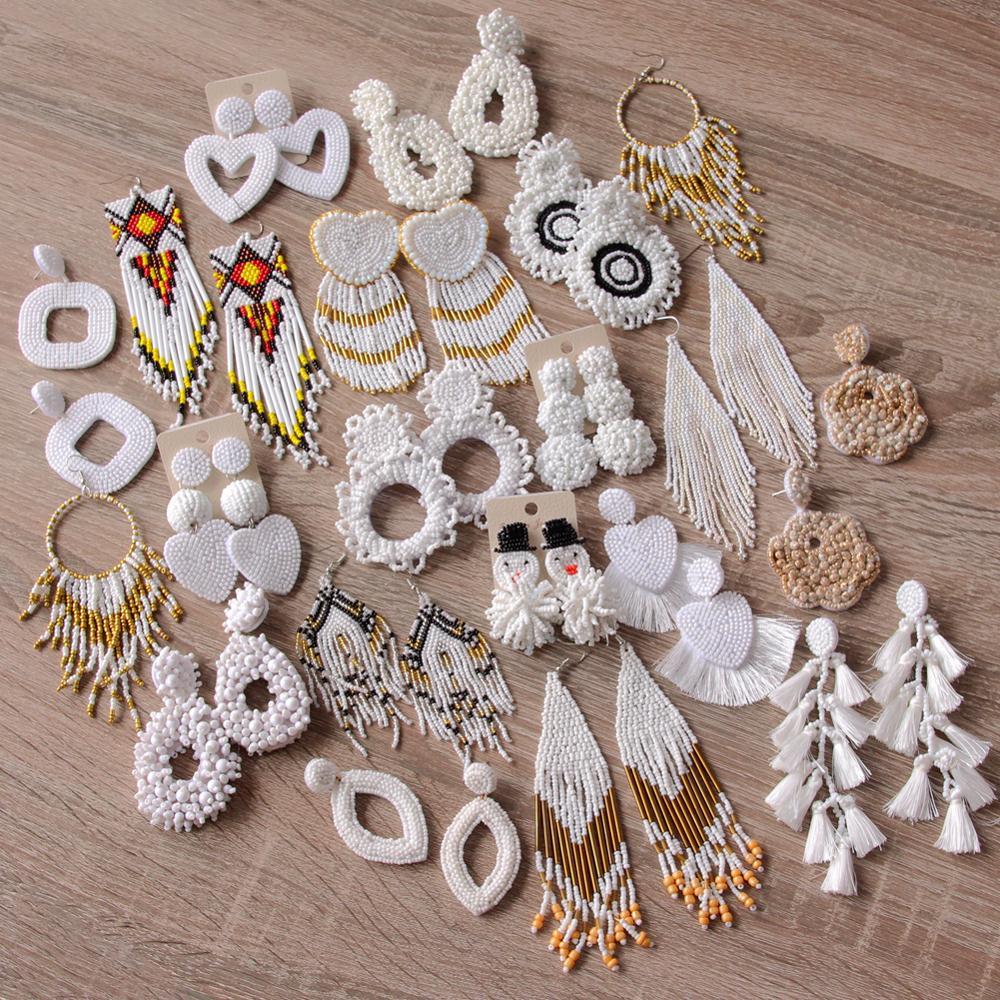 ROYALBEIER Handmade Beaded White Fringed Earrings Woman's Fashion Cute Drop Earrings Bohemian Tassel Wedding Jewelry