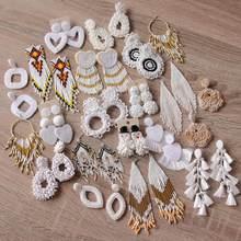 Royalbeier artesanal frisado branco franjas brincos moda da mulher bonito brincos de gota boêmio borla casamento jóias