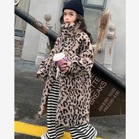 2020 Winter New Leopard Print Real Fur Coats Casual Sheep Shearing Plush Warm Jackets Modis Wool Kids Outerwear Overcoats Y2534