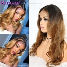 1b/27 Gemarkeerd Honing Blonde Lace Front Pruiken Ombre Menselijk Haar Golvend Pruik Voor Vrouwen Maleisië Remy Haar 13X6 Lace Front Pruik 150%