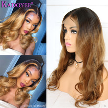 1b/27 Highlighted Honey Blonde Lace Front Wigs Ombre Human Hair Wavy Wig For Women Malaysia Remy Hair 13x6 Lace Front Wig 150%