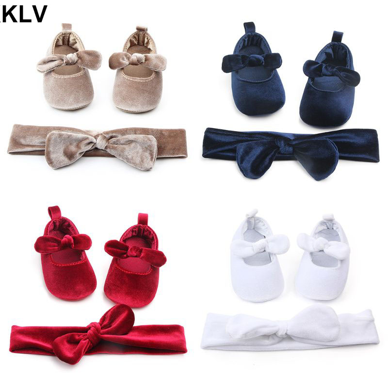 2 Pcs/set Newborn Baby Infant Cotton Anti-slip Toddler Bowknot Soft Sole Shoes With Hairband Girls Decorations Gift