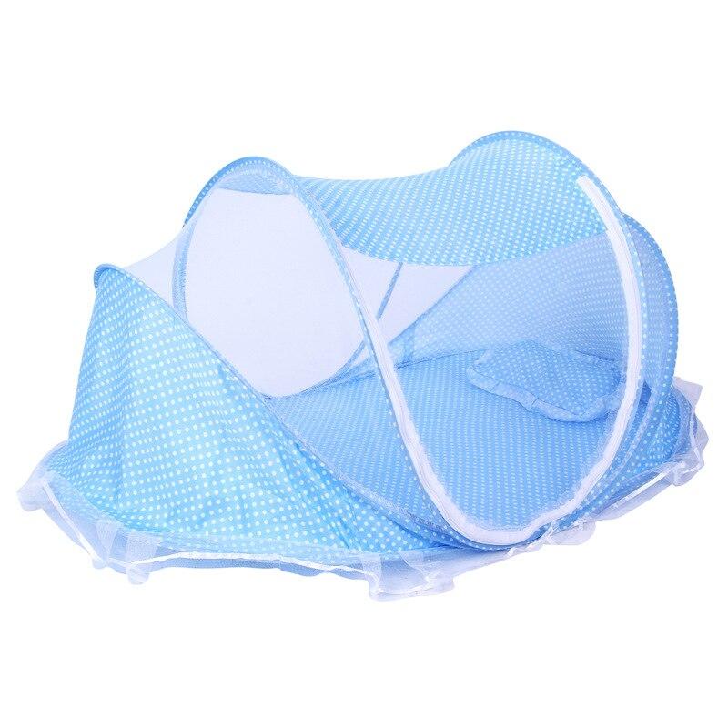 Moustiquaire à baldaquin de lit pour bébé pliable d'été avec tente d'oreiller pour les enfants de 0-2 ans