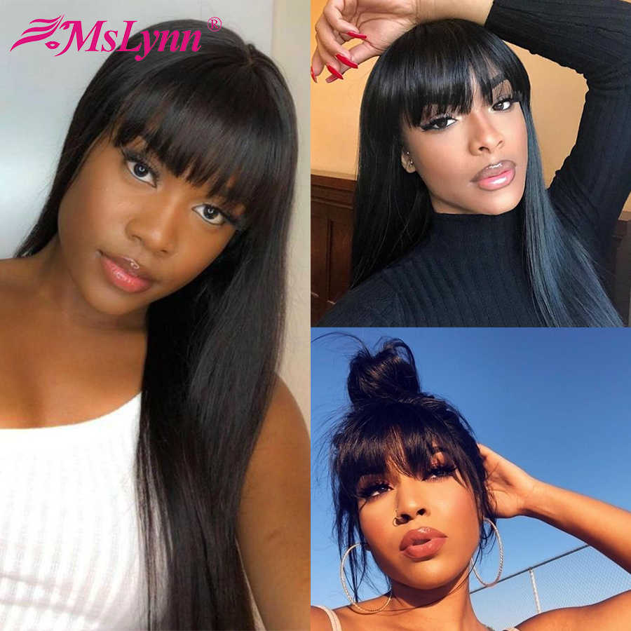 Lace Front Human Hair Wigs With Bangs Straight Lace Front Wig Pre-Plucked With Bangs Brazilian Remy Wig For Black Women